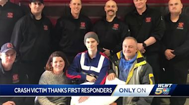 Teen critically injured in wrong-way crash reunited with Lebanon firefighters, paramedics who saved his life