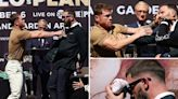 Canelo Alvarez leaves Caleb Plant covered in BLOOD after wild scrap at presser