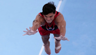 How is this Russian gymnast contending for a medal after blowing out Achilles?