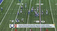 Pelissero: Carson Wentz 'pushing to play' through ankle injuries in Week 3