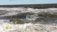 Crashing waves along the rock shore of Northumberland Straight