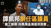 47民主派被控︱譚凱邦辭任區議員:復工無期 向馬灣荃灣居民致歉 | 蘋果日報