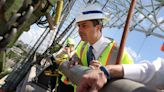 Pete Buttigieg delivers infrastructure message from a bridge with a cracked steel beam