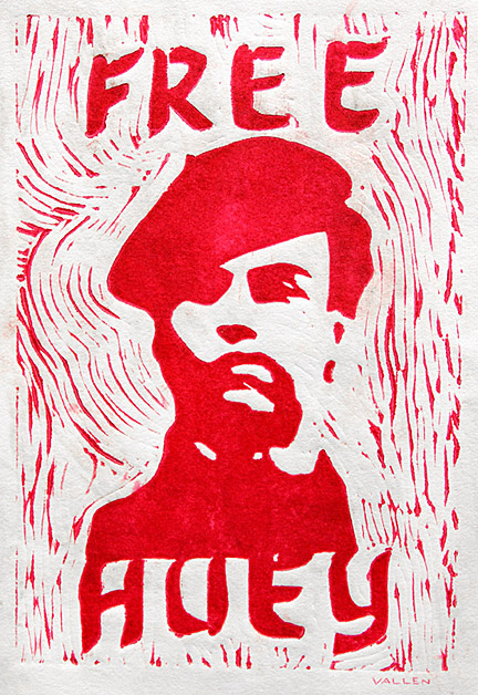 "Free Huey"" - Mark Vallen 1968 © Color linoleum print. 6 x 8 inches."