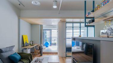 12坪享2房1廳!莫蘭迪藍、圓形語彙與漸層通透的場域,創造年輕夫婦與愛狗的北歐風日常