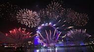 倫敦大笨鐘敲響2020 跨年煙火閃耀泰晤士河