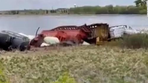 A 50-car train derailed in south Minnesota