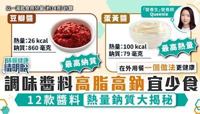 健康精明眼︳調味醬料高脂高鈉宜少食 12款醬料熱量鈉質大揭秘 - 晴報 - 健康 - 飲食與運動