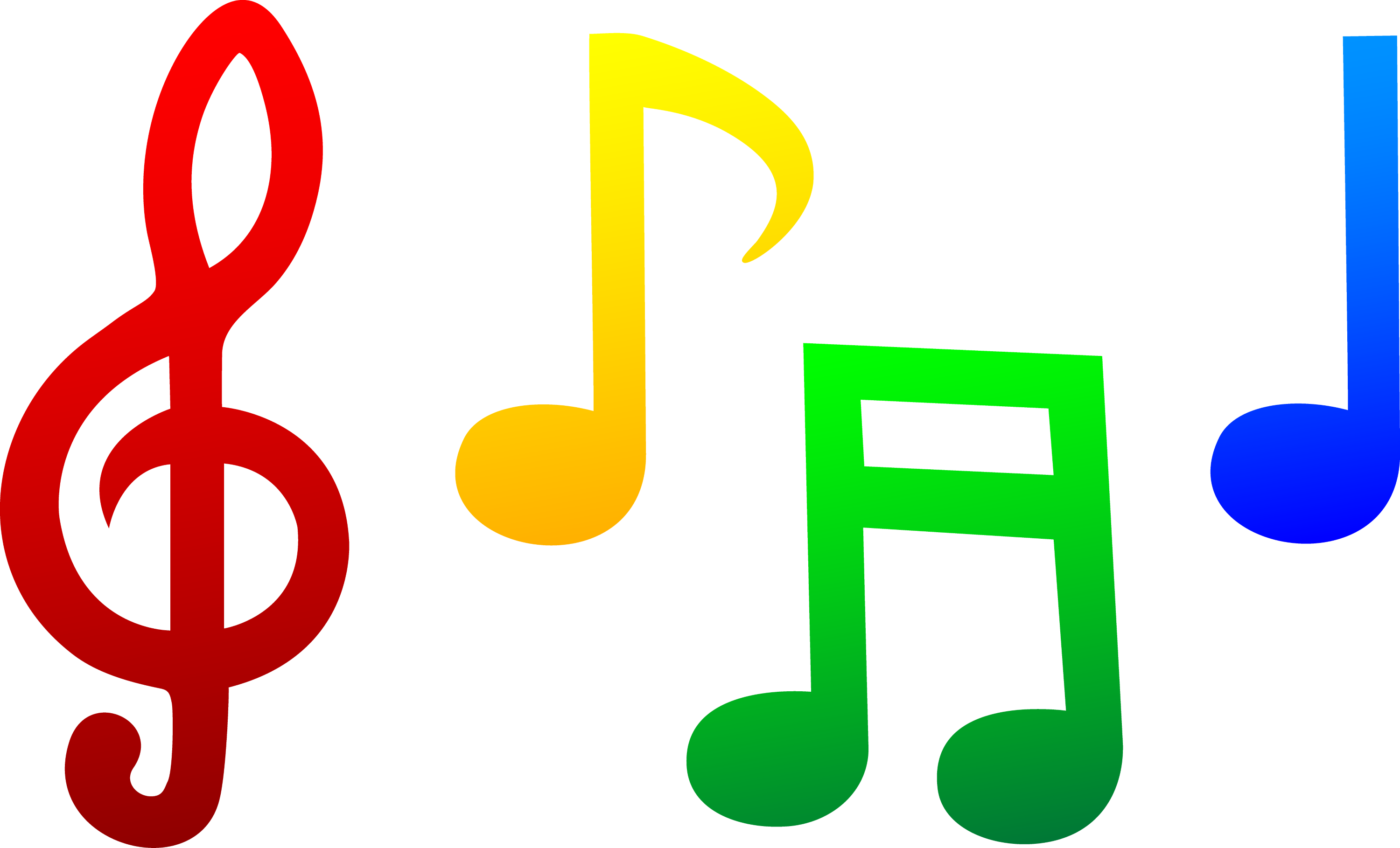 Colorful Musical Notes - Free Clip Art
