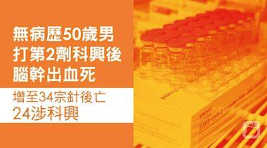 疫苗接種︱無病歷50歲男打第2劑科興後腦幹出血死 34人針後亡24涉科興 | 蘋果日報