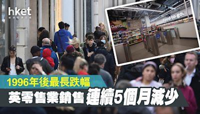 英國零售業銷售連續5個月減少 1996年後最長跌幅 - 香港經濟日報 - 即時新聞頻道 - 國際形勢 - 環球經濟金融