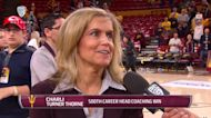 Sun Devil student-athletes celebrate with Charli Turner Thorne after 500th career win