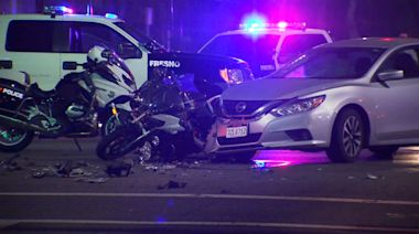 Fresno PD motorcycle officer seriously injured after colliding with car outside CRMC