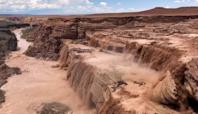 Water Gushes Down Arizona's Grand Falls After Monsoon Rains