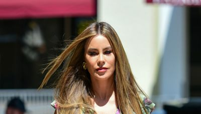 Sofia Vergara Provides the Perfect Spring Outfit Formula in a Floral Dress and Brown Platform Heels