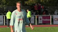 France's Macron plays in charity soccer match