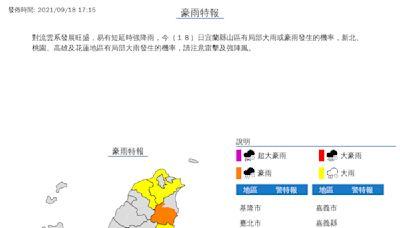 中秋出遊小心變落湯雞 5縣市發布豪大雨特報