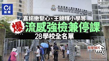 強制檢測學校|嘉諾撒聖心、王錦輝小學等28校爆流感需強檢兼停課