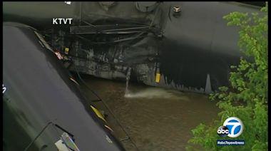 Train cars carrying ethanol catch fire in Texas derailment