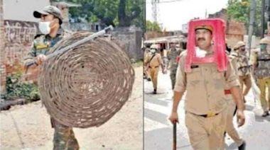 值勤缺裝備「塑膠椅當頭盔、竹簍做盾」!4印度警竟慘遭停職