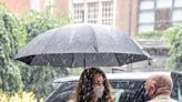 Kate Middleton Stuns in a Pale Blue Dress in the Rain