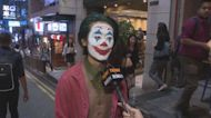 蘭桂坊有市民面上畫彩繪慶祝萬聖節