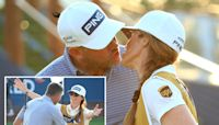 Lee Westwood celebrates with caddie girlfriend Helen Storey after scooping £1.5m prize for winning Race to Dubai