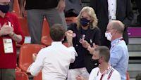 Macron, Jill Biden fist bump at Tokyo Olympics