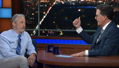 Jon Stewart Floats the Covid-19 Wuhan Lab Theory With Stephen Colbert