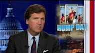 Tucker reacts to Eric Swalwell going topless in Qatar