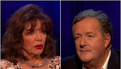 Joan Collins refuses to answer Piers Morgan's question about Meghan Markle: 'Look what happened to you'