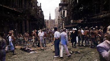 1937年8月,上海南京路遭受日本飛機轟炸之後的慘狀