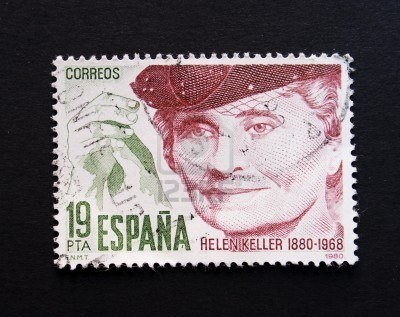 Spanish postage stamp with image of Helen Keller
