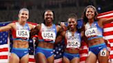 U.S. women's 4x100 relay track team earns silver medal