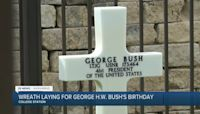 Wreath laid at Former-President George H. W. Bush's grave, would have turned 97 Saturday