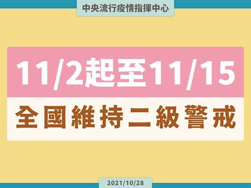 二級警戒延至11/15!「KTV等9場所」可飲食 戴罩規定再放寬