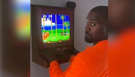 Kanye West plays Sonic the Hedgehog at Kid Cudi's house