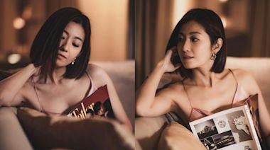 39歲陳自瑤狀態Fit爆 著吊帶睡衣騷性感鎖骨展女性美態