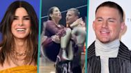 Channing Tatum Jumps In A Pool With Sandra Bullock In His Arms As Film Wraps
