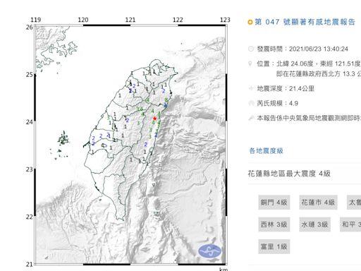 雙北有感!13:40花蓮秀林規模4.9地震 最大震度4級