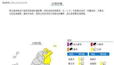 東北風挾雷雨彈 7縣市大雨特報