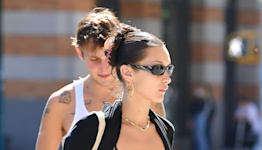 Bella Hadid Goes Sporty in Track Pants and Sports Bra with Black Sneakers While Out in NYC