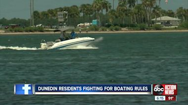 Residents say boats are a danger to swimmers and destroying seagrass NE of Dunedin Causeway