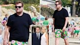 James Corden hits the beach in £650 Gucci swim shorts after losing a stone