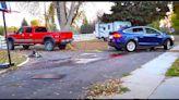 Watch Tesla Model X Rearrange Heavy Duty Silverado 2500 Pickup