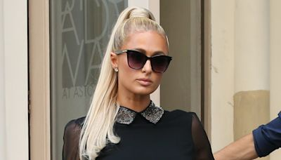 Paris Hilton Gives Edgy Style a Sweet Twist in a Collared Little Black Dress & Rockstud Pumps