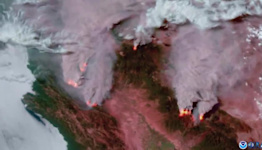 View From NOAA Satellite Shows Wildfire Activity Across Northern California
