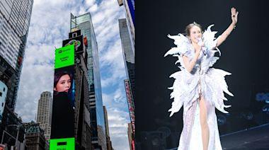 代表香港登紐約時代廣告版 莫文蔚盼透過作品宣揚女性平權