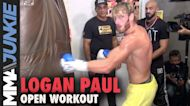 Logan Paul shows off boxing skills as he previews Floyd Mayweather boxing bout