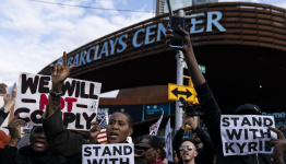 'Stand With Kyrie': Scenes from the protest outside Barclays Center